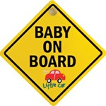 Little Car Plastic Baby On Board Sign with Suction Cup