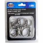 SCA Stainless Steel Hose Clamp Set - 12 Piece
